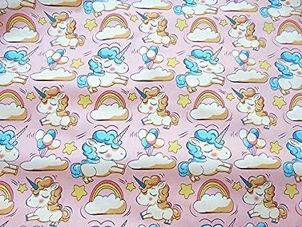 Tela unicornios rosas por metros 1 unidad 0.50 m. x 1.60m 2 unidades 1 mx 1.60 m confeccionar cortinas, cojines, canastillas, vestidos,100% algodon ...