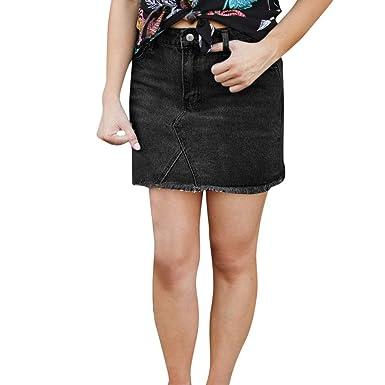 ce2082b6a Women Short Pencil Skirt Denim Mini Elastic Fashion Cut High Waist Casual  Skirt (S,
