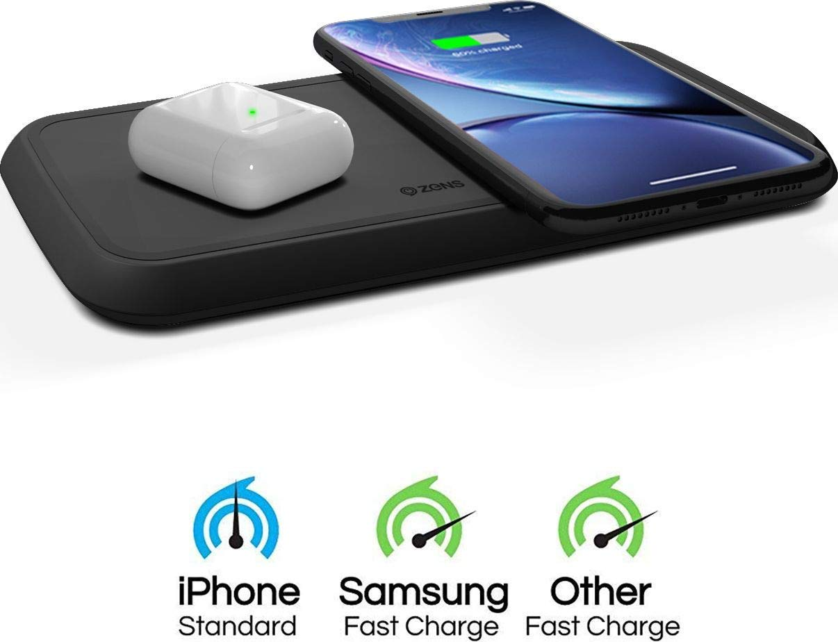 ZENS Dual Wireless Phone Charging Pad - Qi Charging Pad with 2X 10 Watt Power Output - Supports Samsung Fast Charging - Works Qi Enabled Devices - Includes AC/DC Adapter - Black