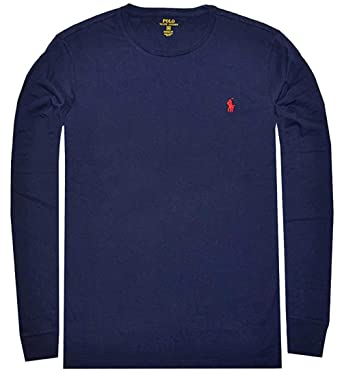 9eb9a5d6 Polo Ralph Lauren Mens Custom-Fit Long Sleeve Crew Neck T-Shirt (Large, Ink  Navy): Amazon.co.uk: Clothing
