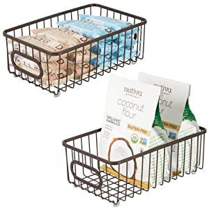 mDesign Metal Farmhouse Kitchen Pantry Food Storage Organizer Basket Bin - Wire Grid Design - for Cabinets, Cupboards, Shelves, Countertops, Closets, Bedroom, Bathroom - Small Wide, 2 Pack - Bronze
