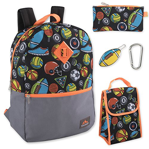Boys 5 in 1 Full Size Backpack Set (Sports)