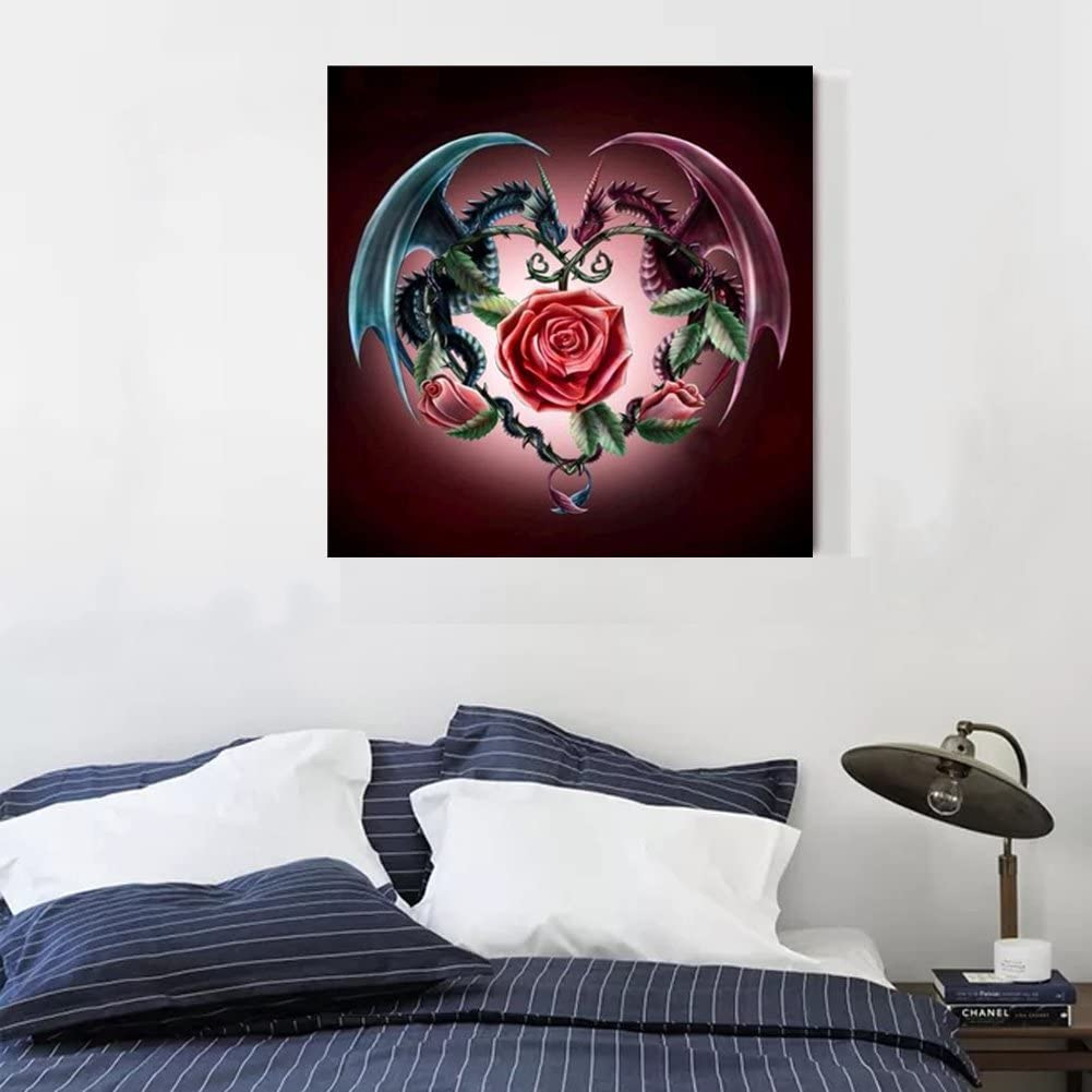 DIY 5D Diamond Painting by Number Kits Full Drill Rhinestone Embroidery Cross Stitch Pictures Arts Craft for Home Wall Decor,Two Dragons Guarded The Rose 12x12In