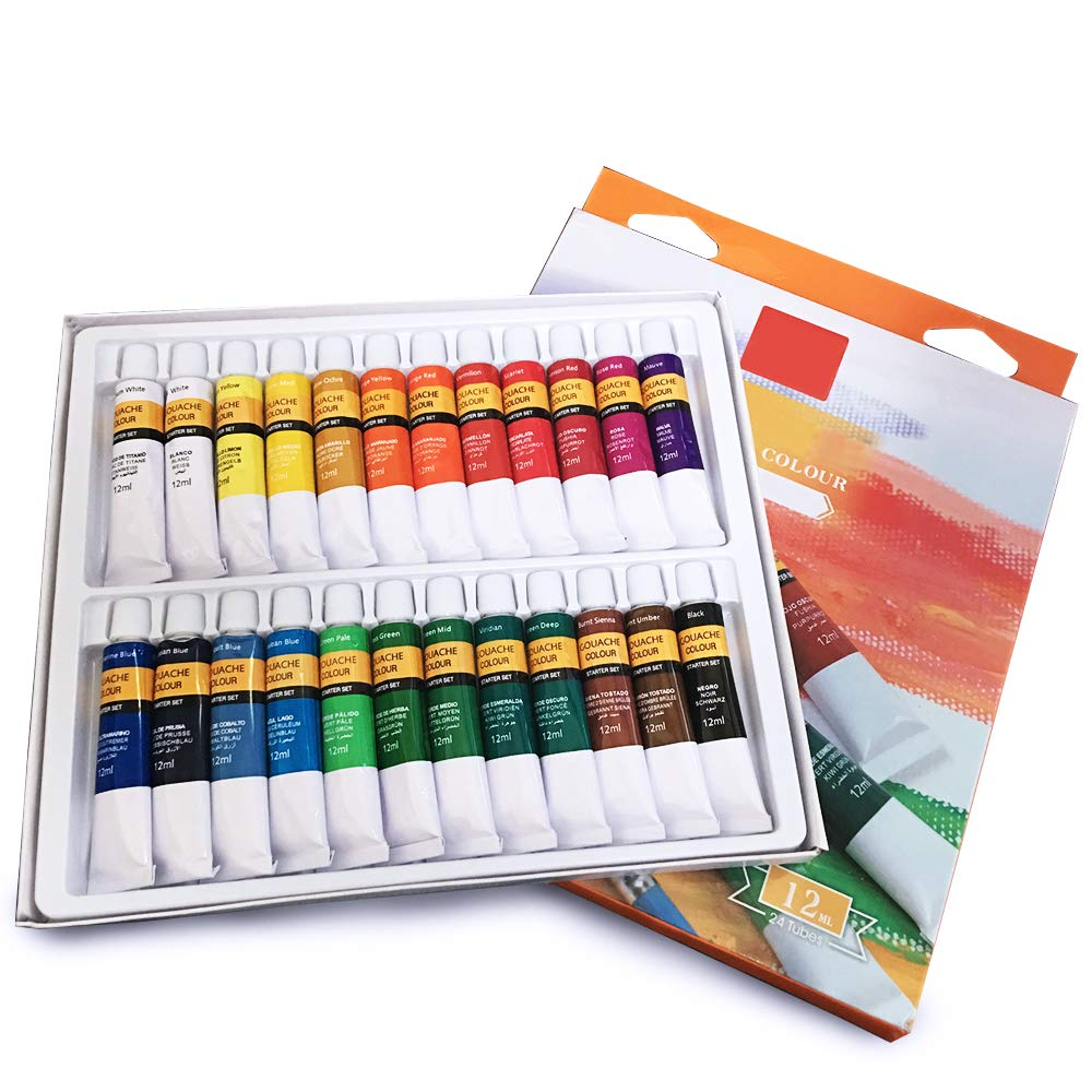 Happlee Gouache Paint Set for Artist Designer Beginner Painting Coloring 24 Tubes x 12ml (0.41 fl.oz) (Gouache Paint)