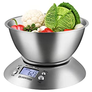 UNIWEIGH Food Kitchen Scale Bowl,Digital Gram and OZ for Cooking ,Baking,Dieting,Weight Loss,with Removable Bowl 2.15L Volume, Room Temperature,Timer, Backlight LCD Display, Stainless Steel, 11lb/5kg