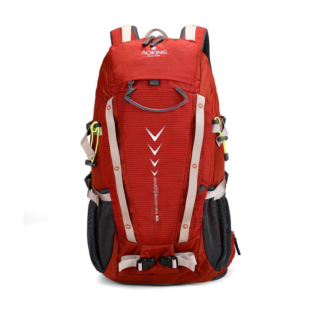 アウトドアリュックサック, 40L トラベルカジュアルバックパック防水スポーツキャンピングデイパック多機能大容量ナップサック,red,34*53*22cm 34*53*22cm red B07MNMY157