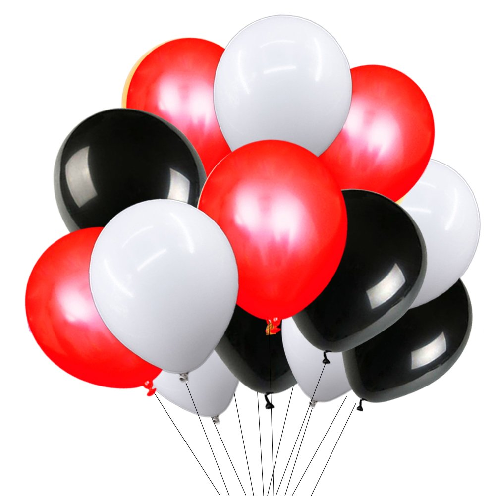 Red White Black Balloons 12'' Natural Latex Balloons Strong Party Balloons Pack of 72