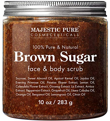 Brown Sugar Body Scrub for Cellulite and Exfoliation - Natural Body & Face Scrub - Reduces The Appearances of Cellulite, Stretch Marks, Acne, and Varicose Veins, 10 Ounces from Majestic Pure