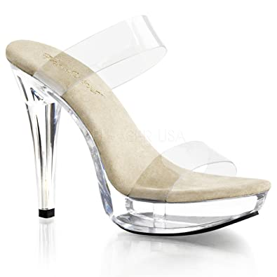 "COCKTAIL-502 Women's 5"" Heel 1"" Platform Two Band Slides"
