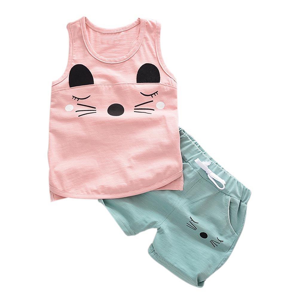 Zhengpin Baby Boys Girls 2PC Cotton Outfits Set Sleeveless Vest +Shorts Set