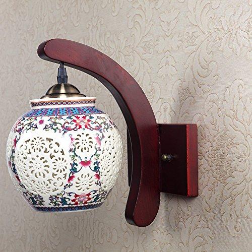 Lampada da parete camera da letto corridoio balcone creativo corridoio lampada in legno massello decorato singola testa