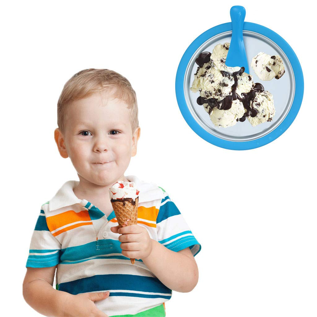 Bazahy Instant Ice Cream Maker Yogurt Frozen Pan Roll Time US in Stock Household Fried Iceboard Kids Children Summer Cool Machine Blue (A)