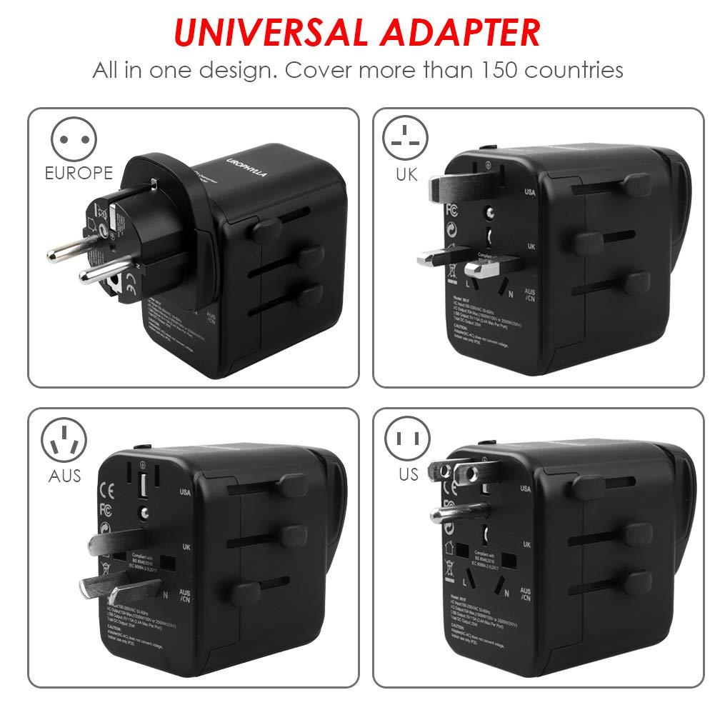 European adapter,UROPHYLLA Travel Adapter 3 Pack European Power Adapter Schuko Plug Adapter,Universal Plug Adapter for Germany,France,Denmark,Iceland,Netherlands,Finland,Russia,Greece,Sweden,Spain etc