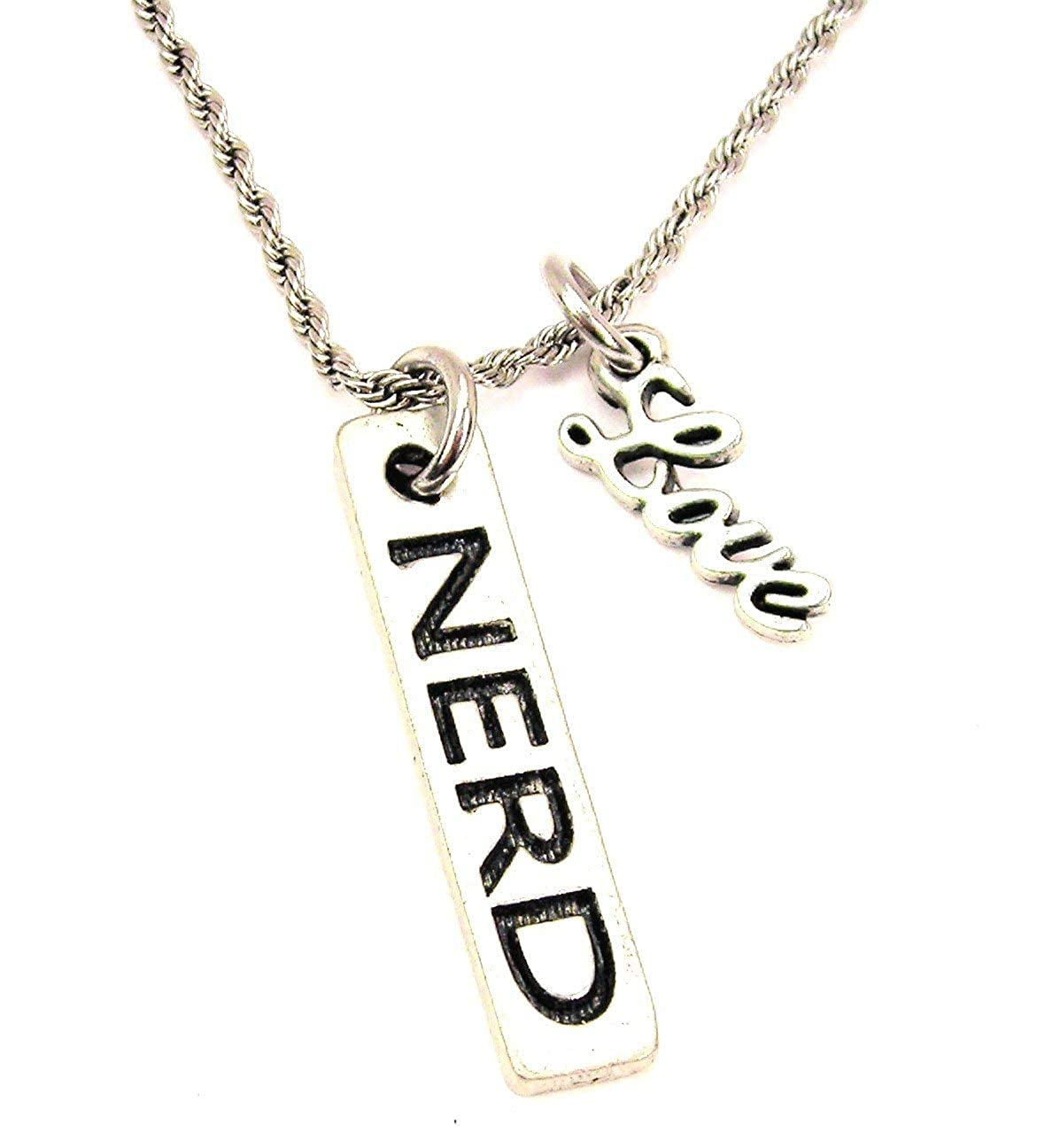 ChubbyChicoCharms Nerd Stainless Steel Rope Chain Necklace with Cursive Love Accent