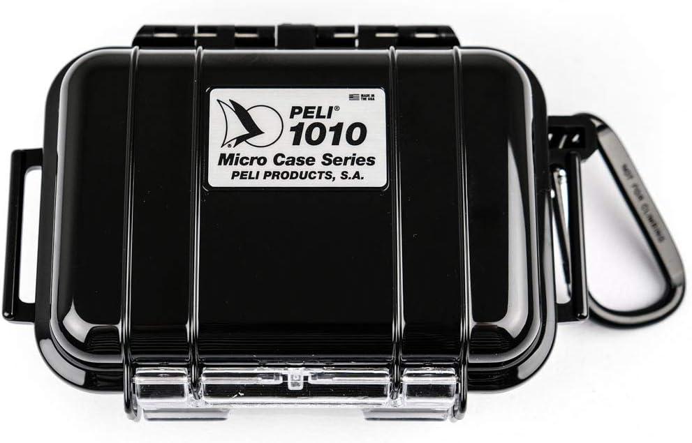 PELI 1010 Micro Case, Protección estanca para pequeñas pertencias en actividades al aire libre como kayak, escalada, playa o windsurf, IP67 estanca, 0,3L de capacidad, fabricada en EE.UU., color negro: Amazon.es: Electrónica