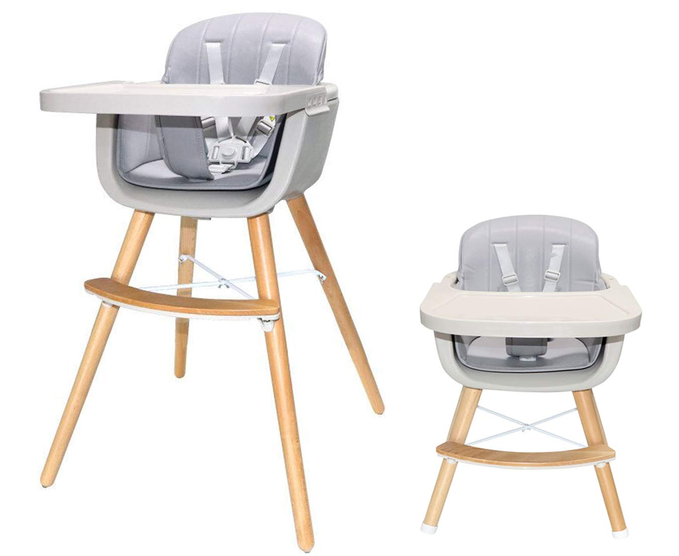 Amazon Com Asunflower Wooden High Chair 3 In 1 Convertible Modern Highchair Solution With Cushion Adjustable Highchair For Babies And Toddlers Baby