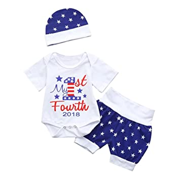 Mono Bebé Xinantime 3 piezas infantiles bebés niñas 4 de julio estrella mameluco + pantalones cortos