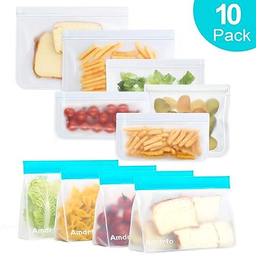 Bolsas de almacenamiento reutilizables, paquete de 10 bolsas ...