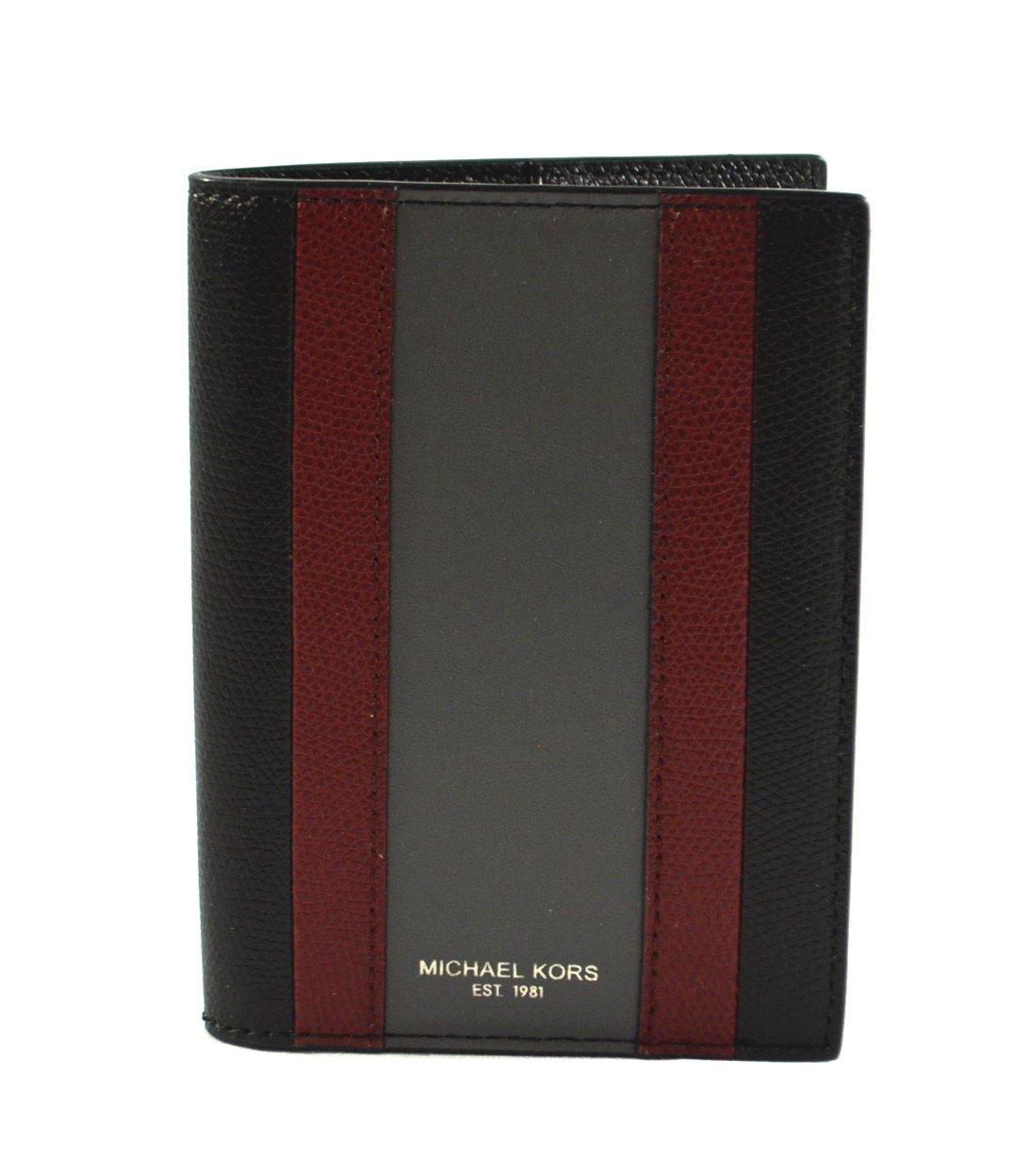 Michael Kors Warren Saffiano Leather Passport Card Holder Case Cover Wallet, Black (Black/Red)