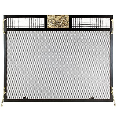 Minuteman International SES-3830PC Clematis Emblem Fireplace Screen, Polished - Large Fireplace Screen Brass