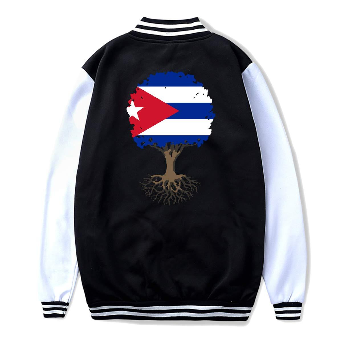 NJKM5MJ Unisex Teen Baseball Uniform Jacket Tree of Life with Cuba Flag Sweater Sport Coat Back Print