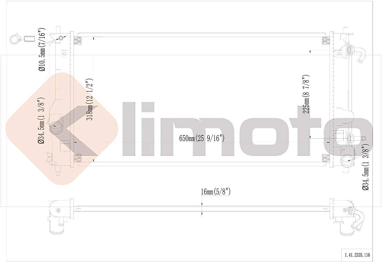 Klimoto Radiator KLI2335 fits Toyota Celica 2000-2005 1.8L L4