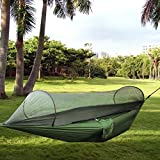 Camping Hammock URVOGUE Mosquito Net Outdoor Hammock Tent High Strength Travel Bed Lightweight Double Parachute Fabric Hammock for for Outdoor,Beach,Camping, Hiking, Backpacking, Backyard