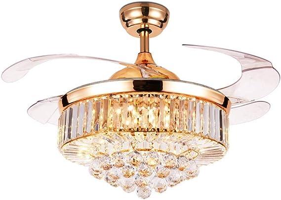 SCH Luz de ventilador de techo invisible de LED 4 aspas retráctiles Ventilador de techo de LED 3 Cambio de color Cristal Moderno Control remoto de cristal para restaurante Dormitorio Sala de