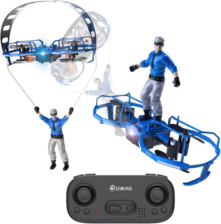 EACHINE Mini Quadcopter Drone para Niños y Adultos Principantes E019 RC Drone de 2 Ejes Modo Parapente Modo Paracaídas Drone Control de Altitud LED 6Giro 3 Velocidades 2.4GHZ 4CH Drone(Azul): Amazon.es: Juguetes