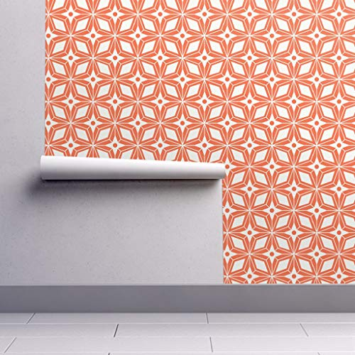 Geometric Wallpaper Sample Swatch - Geo Midcentury Modern Midcentury Retro Star Orange by Heatherdutton - Swatch 12in x ()