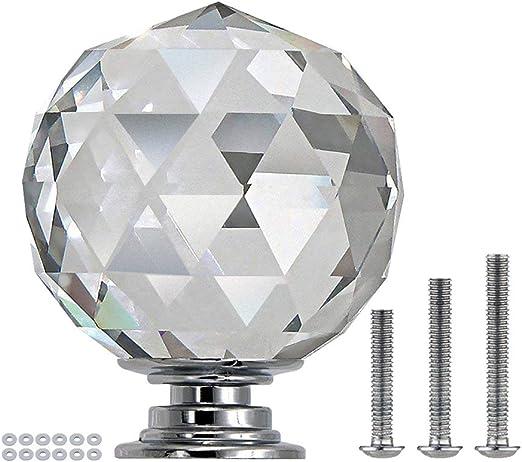 12/piezas forma de diamante cristal vidrio pomos para armario caj/ón de 30/mm cromo puerta de cristal armario pomos redondos para oficina en casa DIY transparente