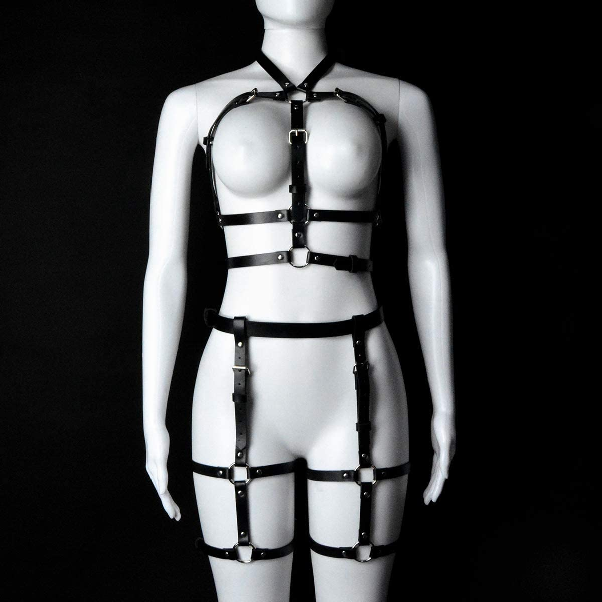 sigando Womens Punk Leather Body Harness Waist Straps Cage Garter for Legs