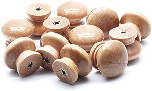 "Mecion 12Pcs Wooden Knobs Mushroom Shape Knobs for Kitchen Cabinets Furniture Dresser 28 x 24mm/1.1""x 0.94"""