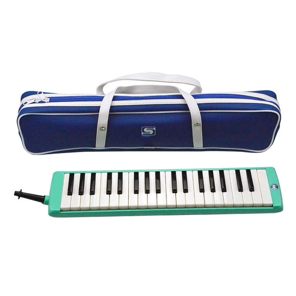 Melodica Musical Instrument Educational Kids 37 Keys Portable Pianica Melodica Musical InstrumentWith Carrying Bag Gift Toys For Music Lovers Beginners Mouthpieces Tube Sets Green For Music Lovers Beg