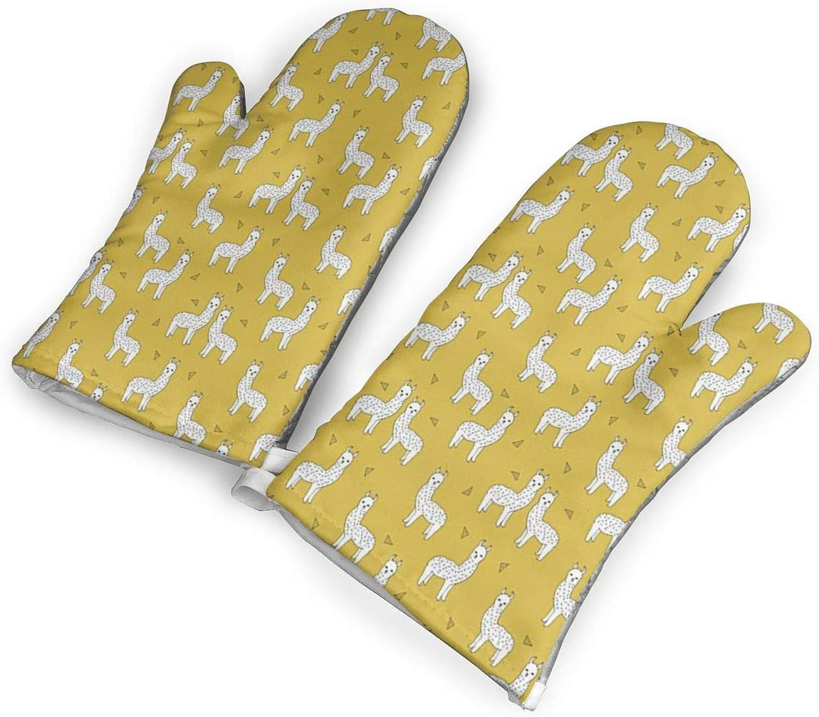 Llama Mustard Yellow Kitchen Oven Mitts, Cotton Long Microwave Oven Gloves, Extreme Heat Resistant 572 Degrees Nonslip Gloves for Potholders Cooking, BBQ, Frying, Baking (1 Pair)