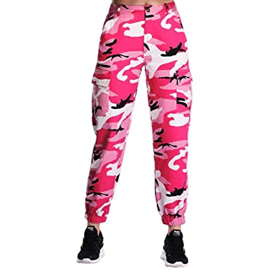 ZODLLS Women's Camo Pants Cargo Trousers Cool Camouflage Pants Elastic Waist Casual Multi Outdoor Jogger Pants with Pocket at Women's Clothing store