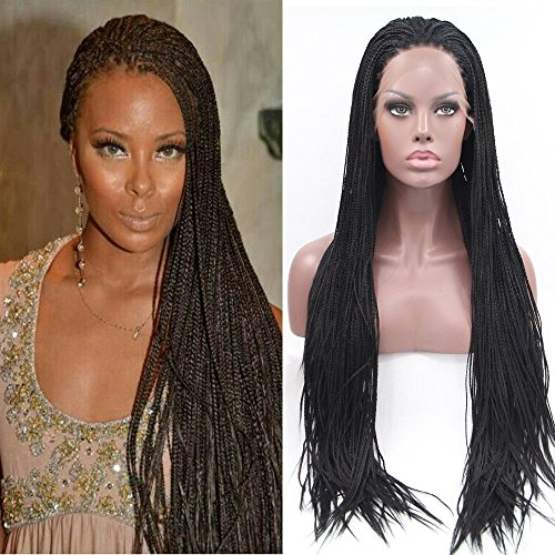 [Fennell Long Black Synthetic Hair Dreads African Wig for Braiding Synthetic Front Lace Wig] (Dread Wig)