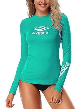 05dadcec545 Axesea Women Rash Guard Long Sleeve UPF 50+ Rashguard Swim Shirt Surf Tops Swimwear  Light