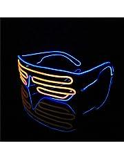 Lerway EL Wire Néon LED Lumineuse Masques Lumière Lunettes Fluo Noir Cadre+ Voix Contrôle Boîte pour Fête Décoration Halloween ,Mariage, Noël Fete Bar