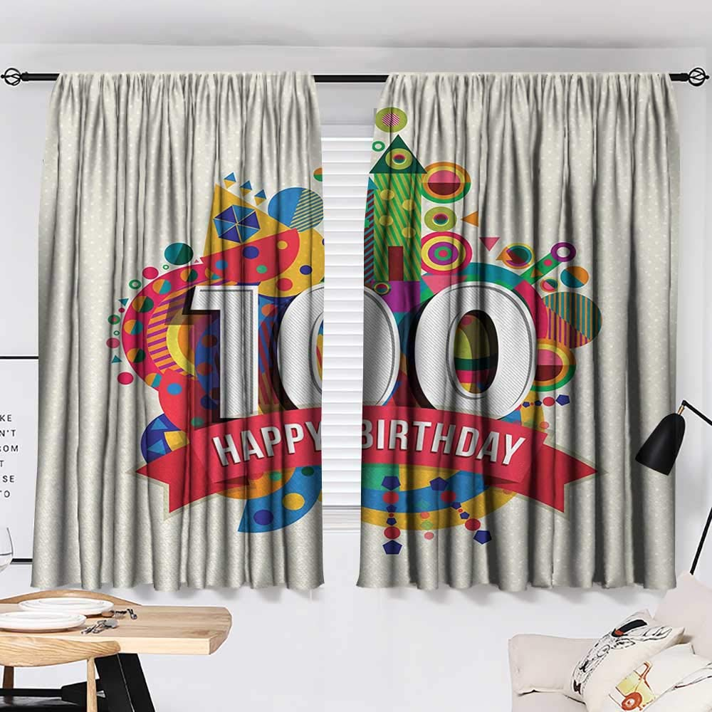 100th Birthday Drapes/Draperies Geometrical Abstract Digital Print with Shapes Castle Boat Birthday Party Curtains,Extra Darkening Curtains Multicolor W55 x L39 by Jinguizi (Image #2)