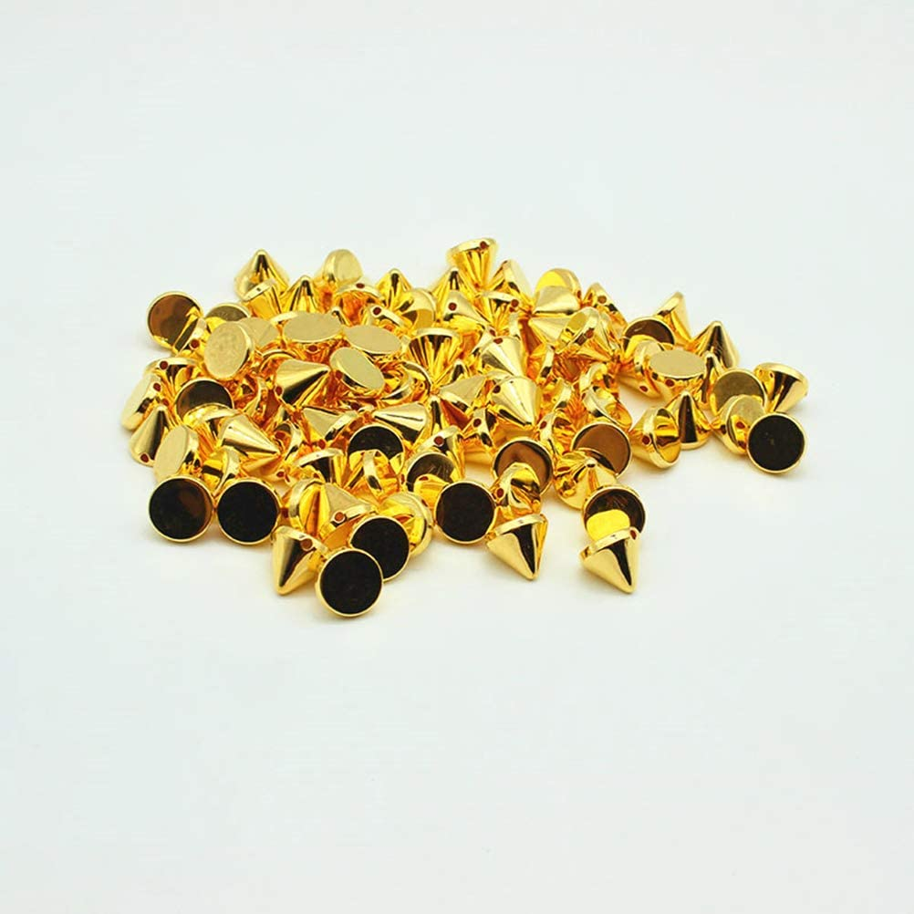 Coudre Sur Coller Sur Perles V/êtements Bricolage SUPVOX 100pcs 10mm Acrylic Bullet Spike Cone Studs Sacs Chaussures Embellissement Coller Sur Argent