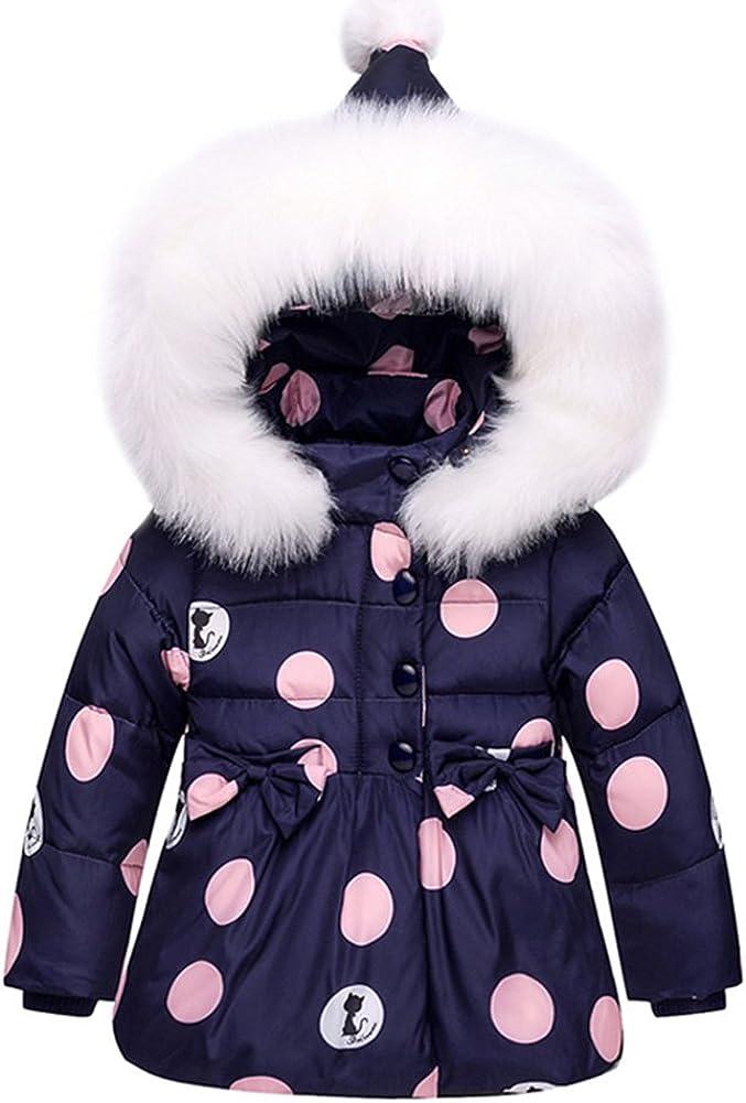 LSHEL Baby M/ädchen Winter Schneeanzug Kleinkind Daunenjacke mit Fell Kapuze Schneehosen