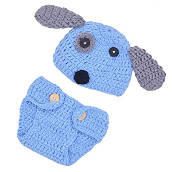 3ade692bf Memorz Newborn Infant Girl Boy Crochet Knit Costume Dog Photo Outfits  Clothes Cap Prop (Blue Dog)