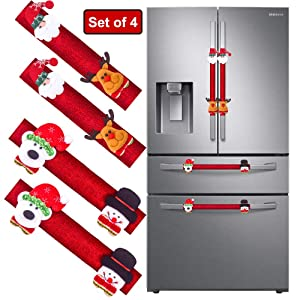 Refrigerator Door Handle Covers Set of 4, Santa Snowman Kitchen Appliance Covers Fridge Microwave Oven Dishwasher Door Handle Protector Christmas Decorations 4 Pcs