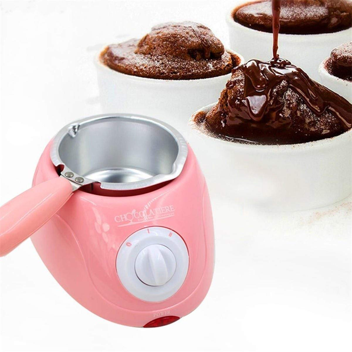 Candy Melting Pot, GIGRIN Electric Chocolate Melting Pot 250ml Chocolate Fondue with 21 Free Accessories, for Chocolate, Candy, Butter, Cheese, Caramel (Pink & Single Pot)