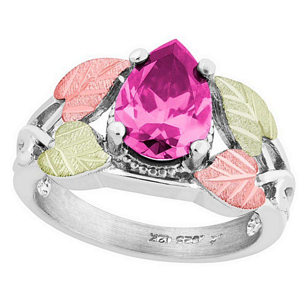 Amazon.com: Pear Pink CZ Ring, Sterling Silver, 12k Green and Rose ...