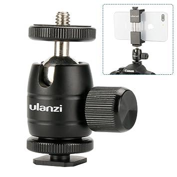 Ulanzi Aluminium 1/4'' Mini BallHead + Hot Shoe Mount Adapter For DSLR  Camera like
