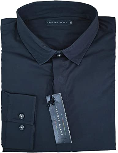 Vision Textiles - Camisa de Vestir para Hombre, Manga Larga, Estilo Casual, Color Negro: Amazon.es: Ropa y accesorios