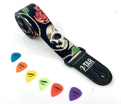 Gótico diseño de fantasmas de calavera y rosa correa para guitarra eléctrica acústica con longitud ajustable