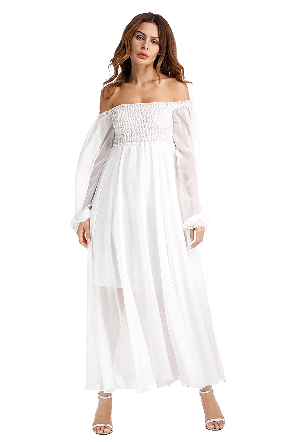 83ff9579ef Top3  Off Shoulder Dresses White Lace for Women Maxi Sexy Cocktail Formal  Evening Party Wedding Chiffon Dress Long Sleeve